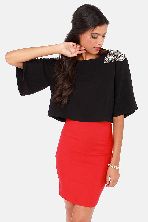 The Bold Shoulder Beaded Black Crop Top at Lulus.com!