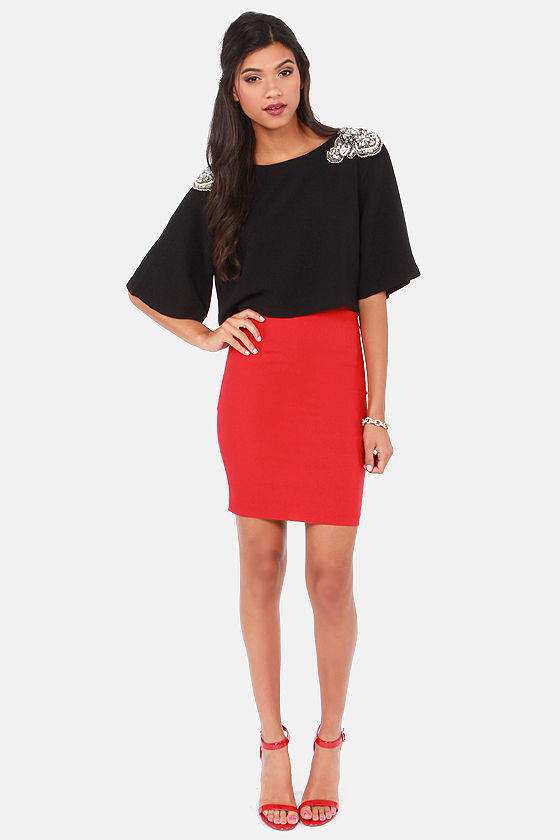 The Bold Shoulder Beaded Black Crop Top at Lulus.com!
