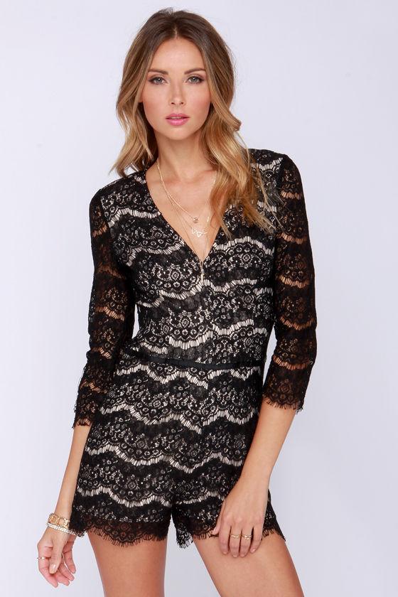 145691b658d7 Sexy Black Romper - Black Lace Romper - Long Sleeve Romper -  73.00