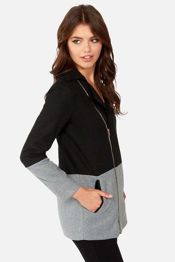 Contrast At Last Grey and Black Coat at Lulus.com!