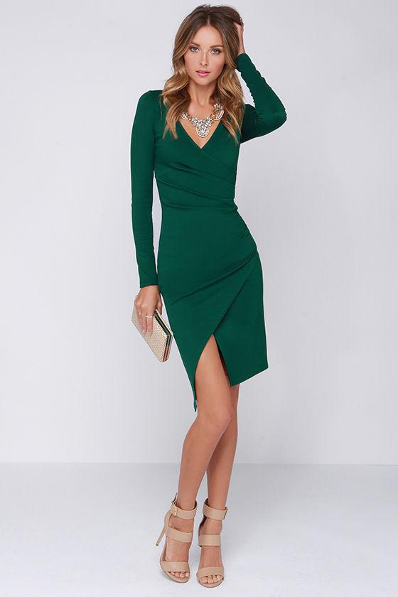 a4df05af8a8a2 Chic Forest Green Dress - Long Sleeve Dress - Bodycon Dress - Midi ...