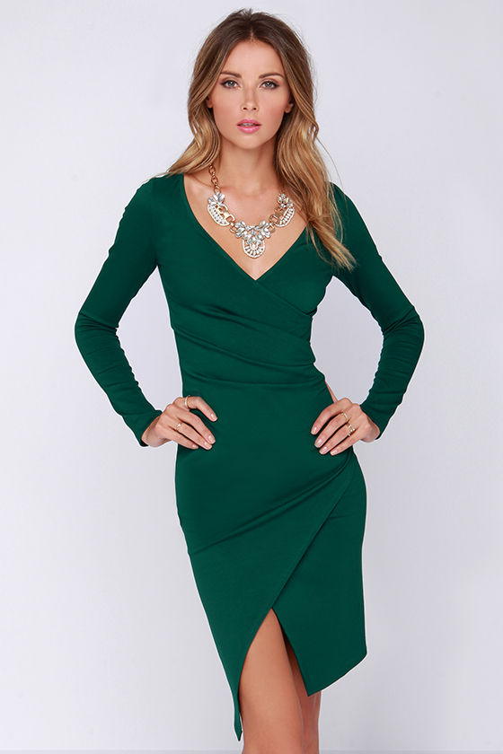 Chic Forest Green Dress - Long Sleeve Dress - Bodycon Dress - Midi ...