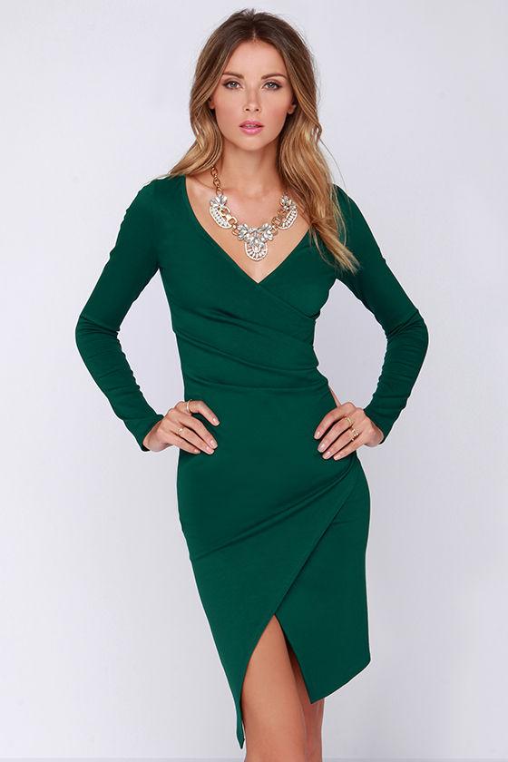 Chic Forest Green Dress - Long Sleeve Dress - Bodycon Dress - Midi ...