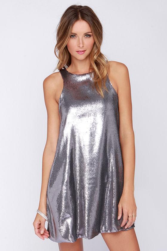 5a85d9d987c Pretty Pewter Dress - Sequin Dress - Silver Dress - Sleeveless Dress -   83.00