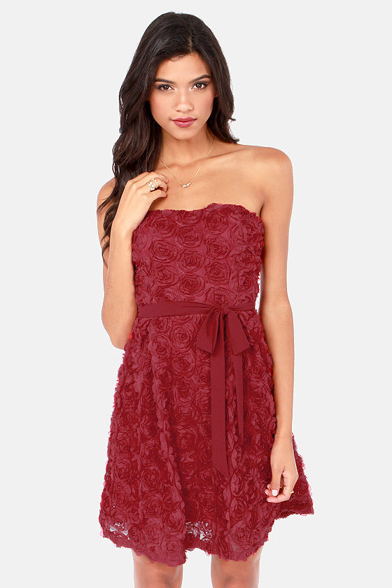 The Empress's New Rose Strapless Wine Red Dress - $60.00 #affiliate