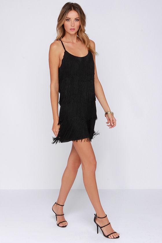 a7a7c08324 Fun Black Dress - Fringe Dress - LBD - Party Dress -  84.00