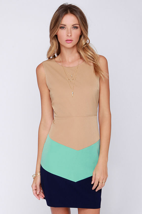 Tan Dress - Casual Dress - Color Block Dress - $64.00