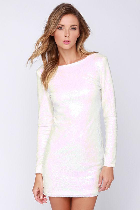 Pretty White Dress - Iridescent Dress - Sequin Dress - Sheath ...