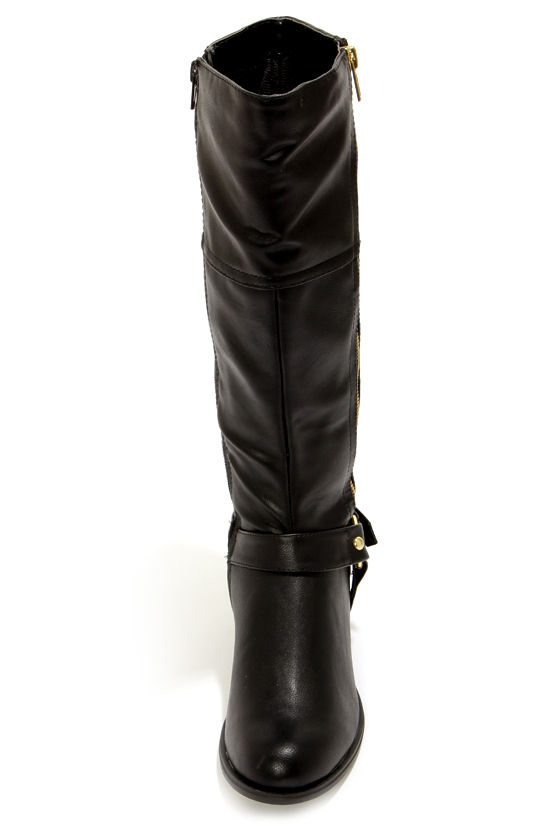 Soda Salsa Black and Gold Harness Riding Boots at Lulus.com!