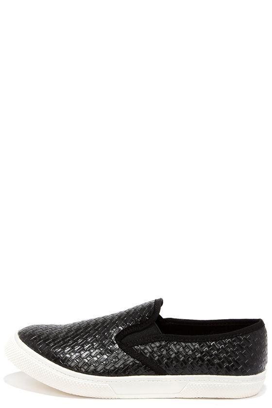 Mia Corklynn Black Basket Weave Slip On Sneakers