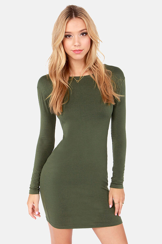 Cute Olive Green Dress - Long Sleeve Dress - Bodycon Dress - $32.00