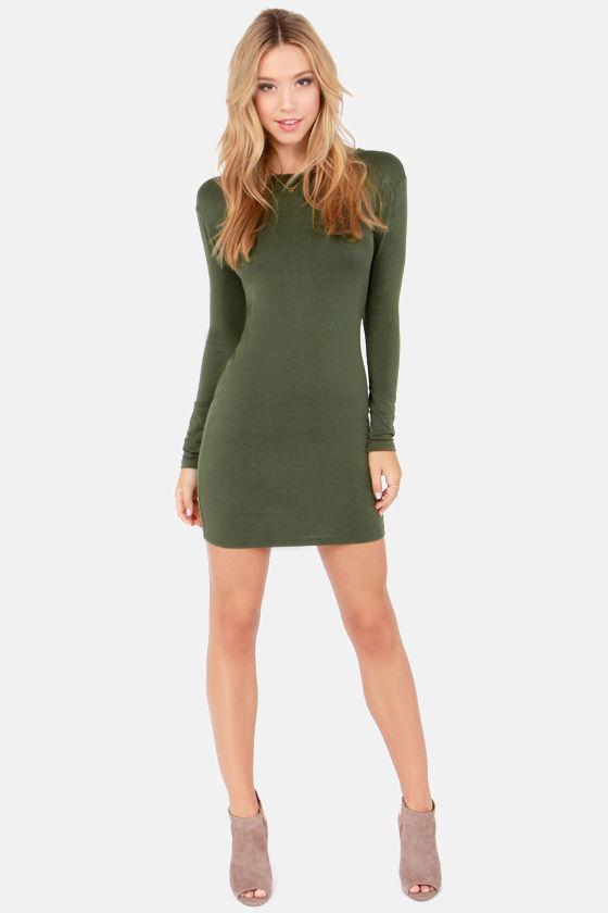 f304f755a630 Cute Olive Green Dress - Long Sleeve Dress - Bodycon Dress -  32.00