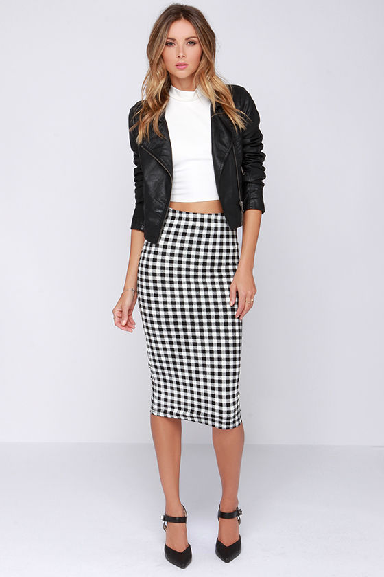 Chic Black and Ivory Skirt - Checkered Skirt - Midi Skirt ...