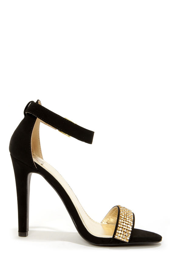 My Delicious Gila Black and Gold Rhinestone Ankle Strap Heels at Lulus.com!