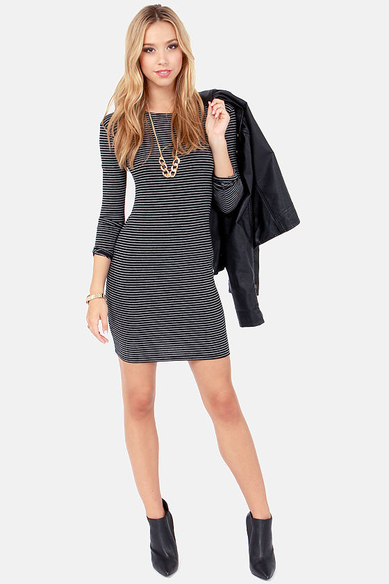 Comeback Baby Black Striped Dress at Lulus.com!