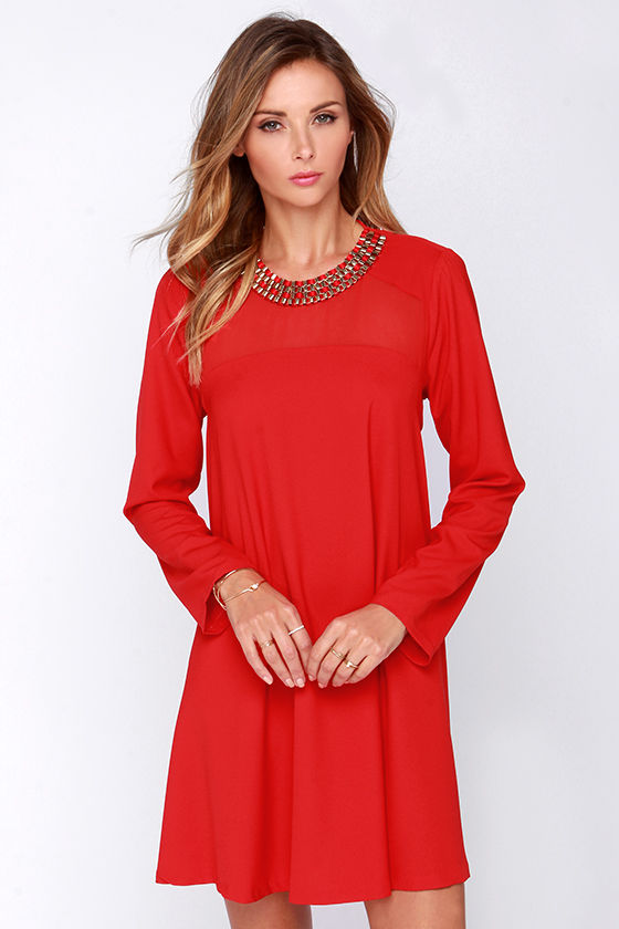 Chic Red Dress - Shift Dress - Long Sleeve Dress - $43.00