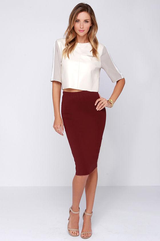 Lovely Burgundy Skirt - Midi Skirt - Bodycon Skirt - $43.00