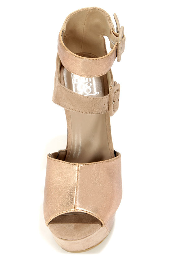 Speed Limit 98 Noga Gold and Taupe Peep Toe Platform Wedges at Lulus.com!