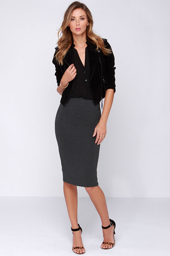 Lovely Grey Skirt - Midi Skirt - Bodycon Skirt - $43.00