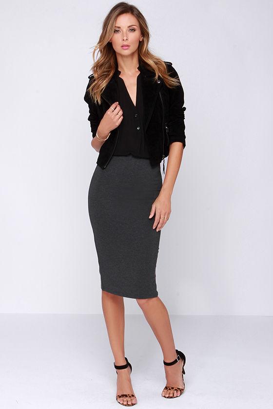 Lovely Grey Skirt - Midi Skirt - Bodycon Skirt - $43.00