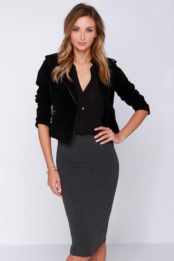 cd9f5ad1d6 Lovely Grey Skirt - Midi Skirt - Bodycon Skirt - $43.00