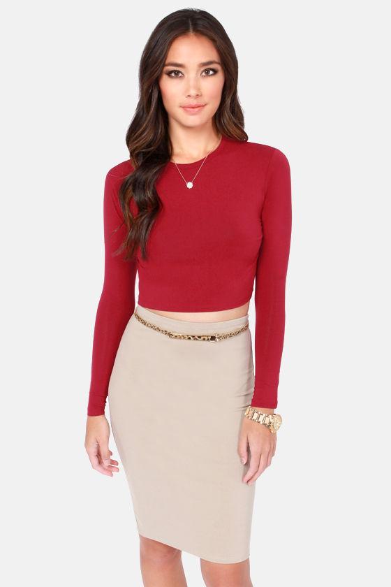 c1a4d1edbbaee Cute Red Crop Top - Long Sleeve Top - Crop Tee -  34.00
