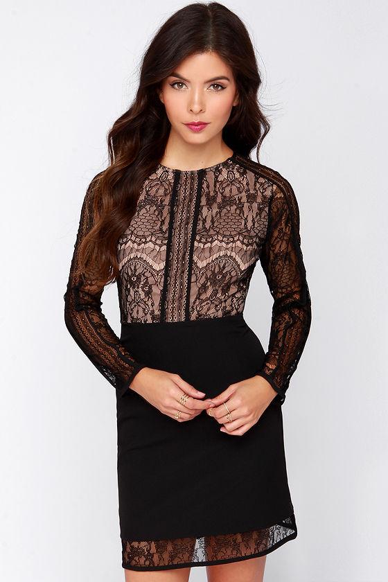 Sexy Black Dress - Lace Dress - Long Sleeve Dress - $68.00