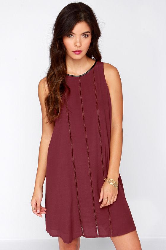 Cute Burgundy Dress - Shift Dress - Casual Dress - $52.00