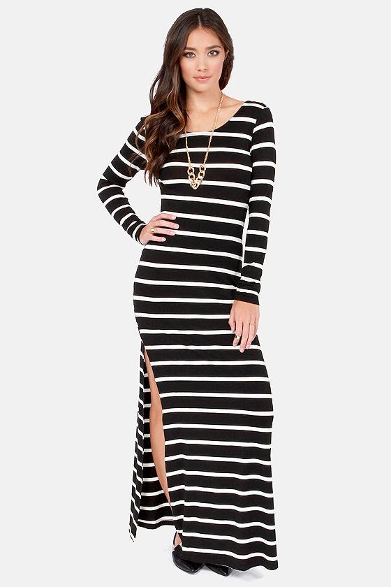 7624650efed8b Sexy Striped Maxi Dress - Black and White Dress - Cutout Dress - $45.00