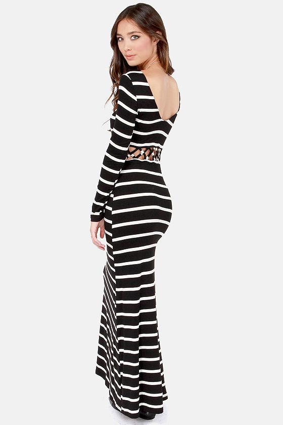 Sexy Striped Maxi Dress - Black and White Dress - Cutout Dress ...