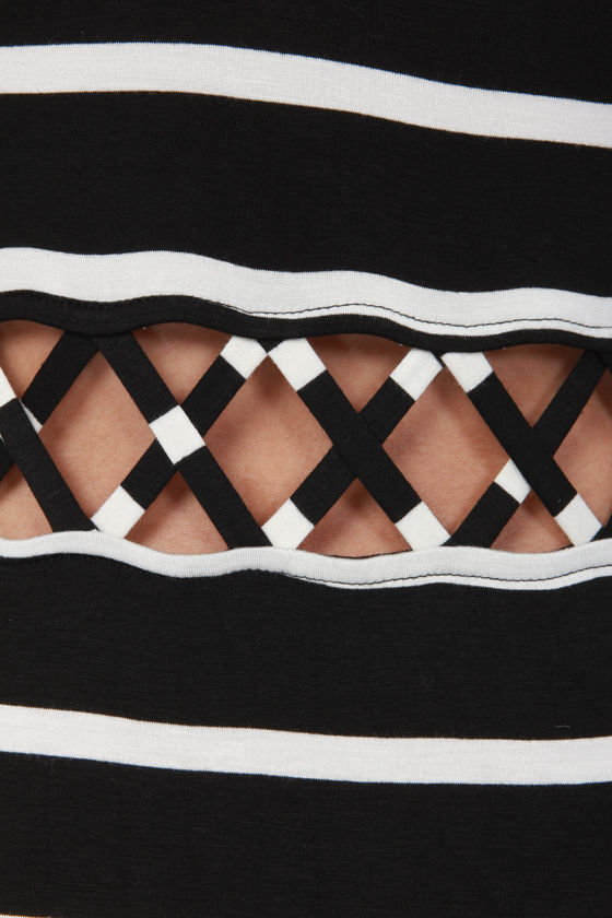 Let's Cutout of Here Black and Ivory Striped Maxi Dress at Lulus.com!