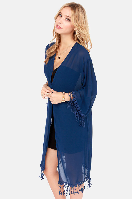 Quiet on the Set Blue Kimono Top at Lulus.com!