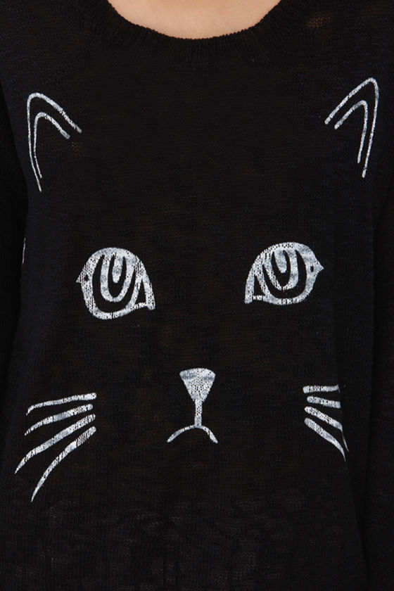 Reverse All Together Meow Black Cat Sweater at Lulus.com!