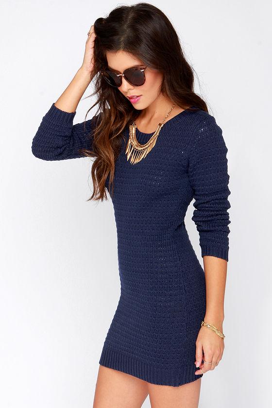 Navy blue sweater dress