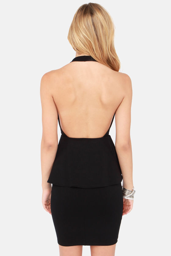 Flirting with Spectacular Black Halter Dress at Lulus.com!