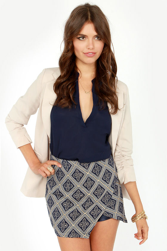 Wild Wallflower Blue Jacquard Mini Skirt at Lulus.com!