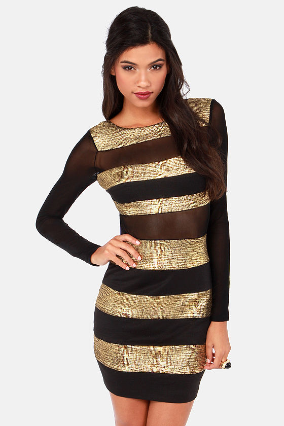 Cute Black Dress - Gold Dress - Striped Dress - $57.00