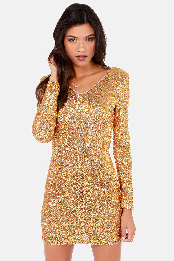 Red Carpet Event Gold Sequin Dress at Lulus.com!