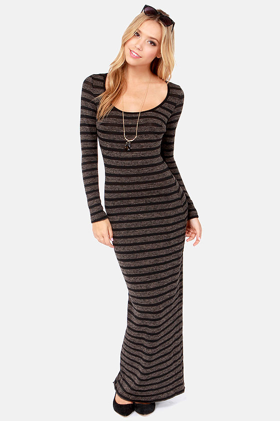 Cute Striped Dress - Maxi Dress - Long Sleeve Dress - Knit Dress ...