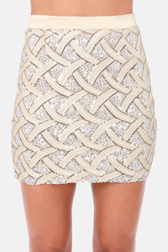 You Better Be-Weave It Cream Sequin Skirt at Lulus.com!