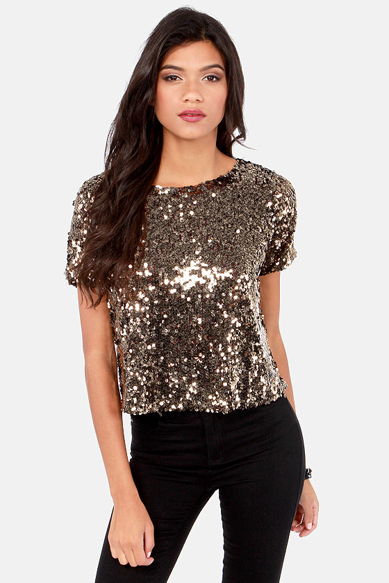 Pretty Gold Top - Sequin Top - Short Sleeve Top - $63.00
