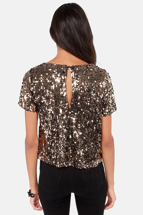 Marvel-Luster Antique Gold Sequin Top at Lulus.com!
