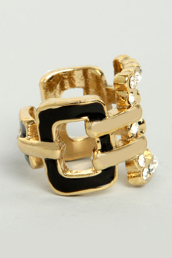 My Square Lady Black and Gold Ring at Lulus.com!