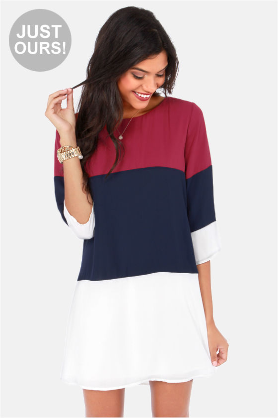 LULUS Exclusive Citrus Grove Navy and Wine Red Shift Dress at Lulus.com!