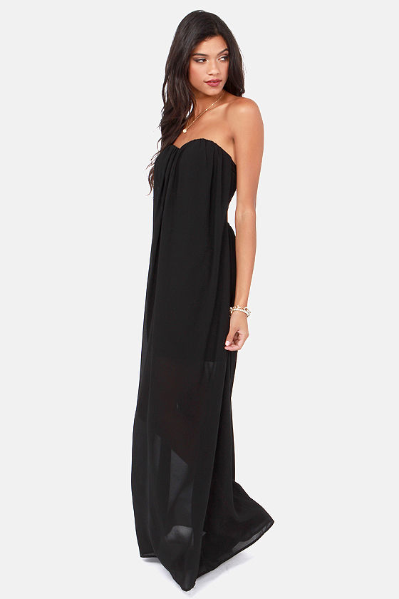 d631913ec90c Sexy Strapless Dress - Black Dress - Maxi Dress - $73.00