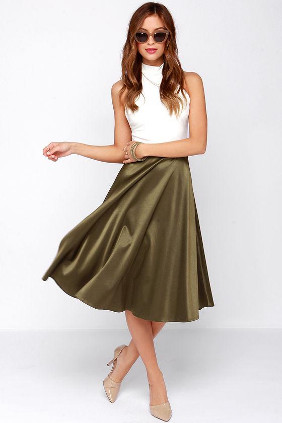 2cb72568cc64e2 Chic Olive Green Skirt - Midi Skirt - A Line Skirt -  49.00