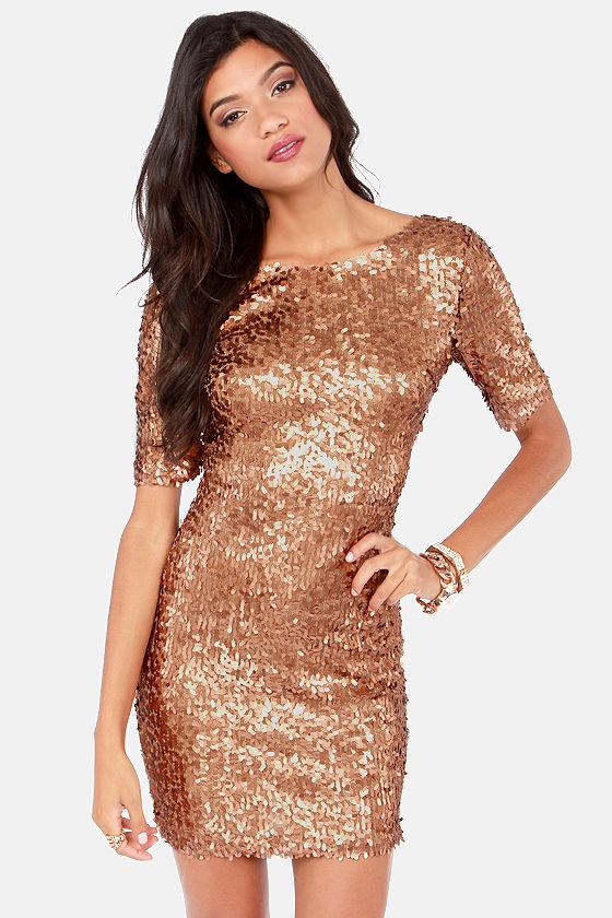 96e02d803 Bronze Dress - Party Dress - Holiday Dress - Sequin Dress - $79.00