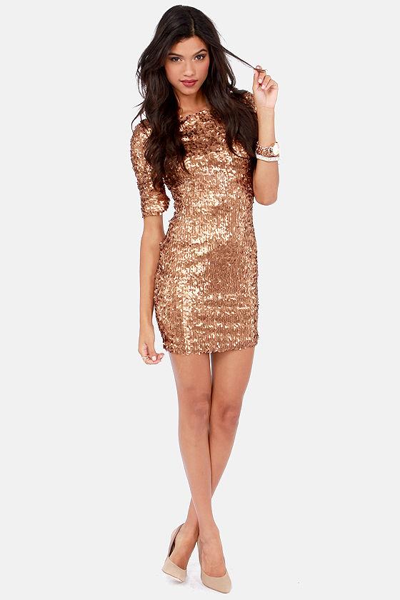 Bronze Dress - Party Dress - Holiday Dress - Sequin Dress - $79.00