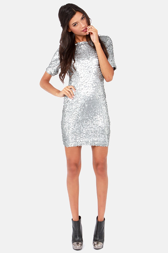 Silver Dress - Party Dress - Holiday Dress - Sequin Dress - $79.00