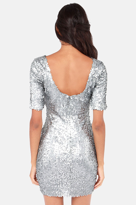 Silver Dress - Party Dress - Holiday Dress - Sequin Dress - $79.00